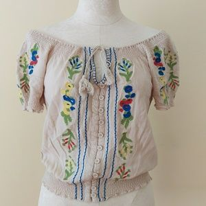 Tops - Mexican Embroidered Blouse Floral